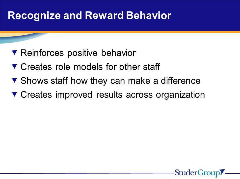 Recognize and Reward Behavior Reinforces positive behavior Creates role models for other staff Shows staff how they can make a difference Creates impr