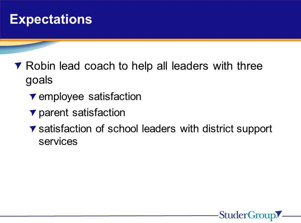 Expectations Robin lead coach to help all leaders with three goals employee satisfaction parent satisfaction satisfaction of school leaders with distr