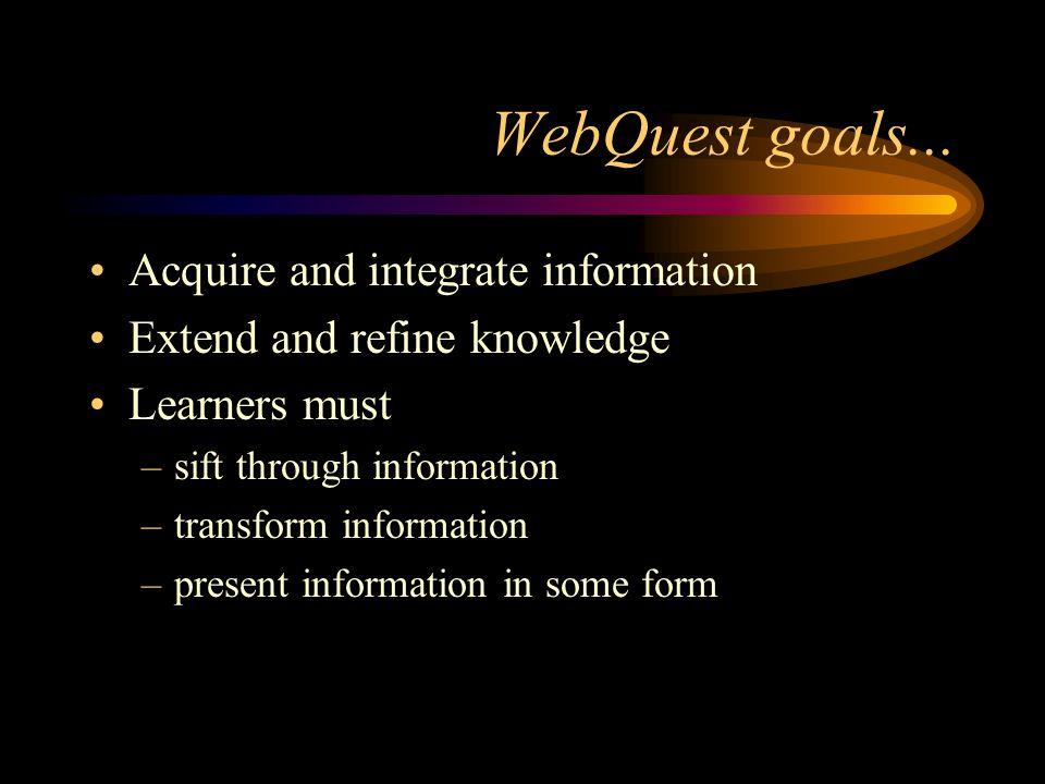 WebQuest goals...
