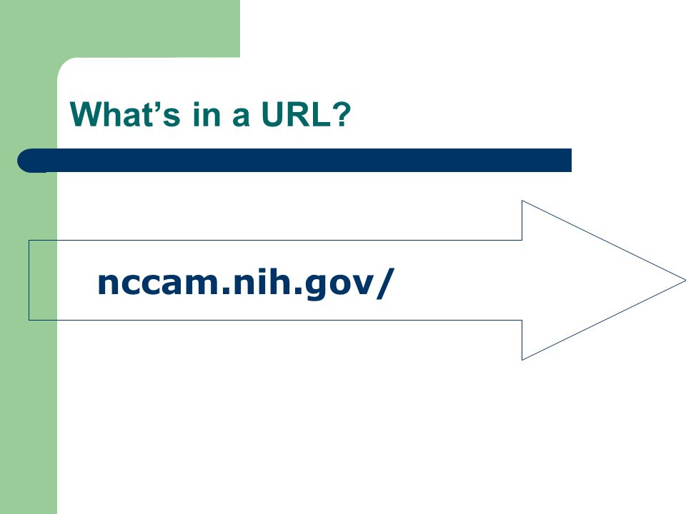 Whats in a URL nccam.nih.gov/