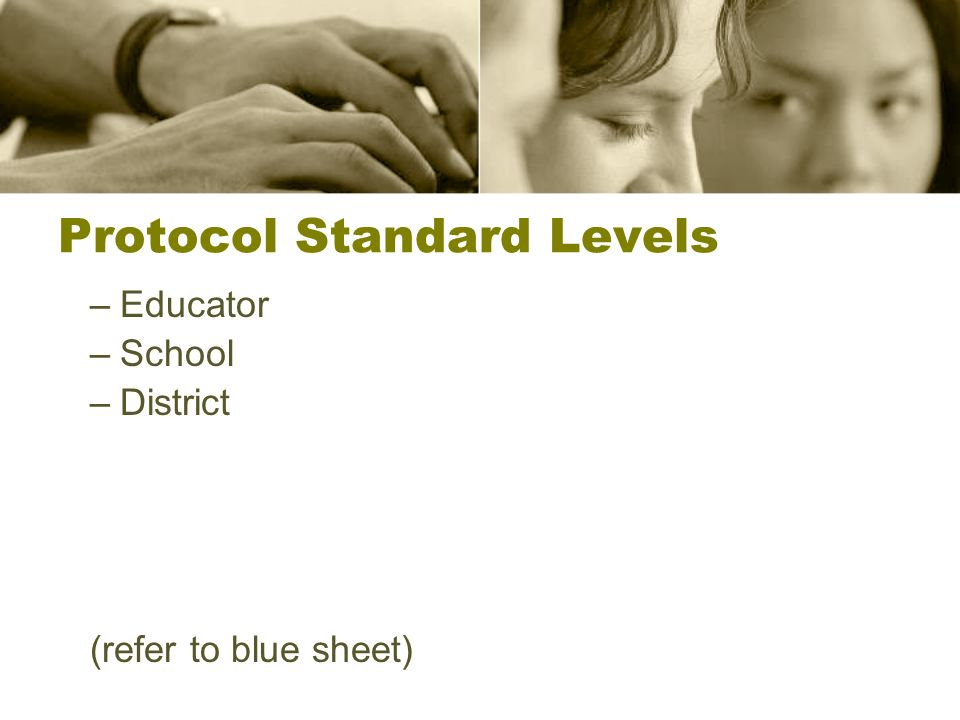 Protocol Standard Levels –Educator –School –District (refer to blue sheet)