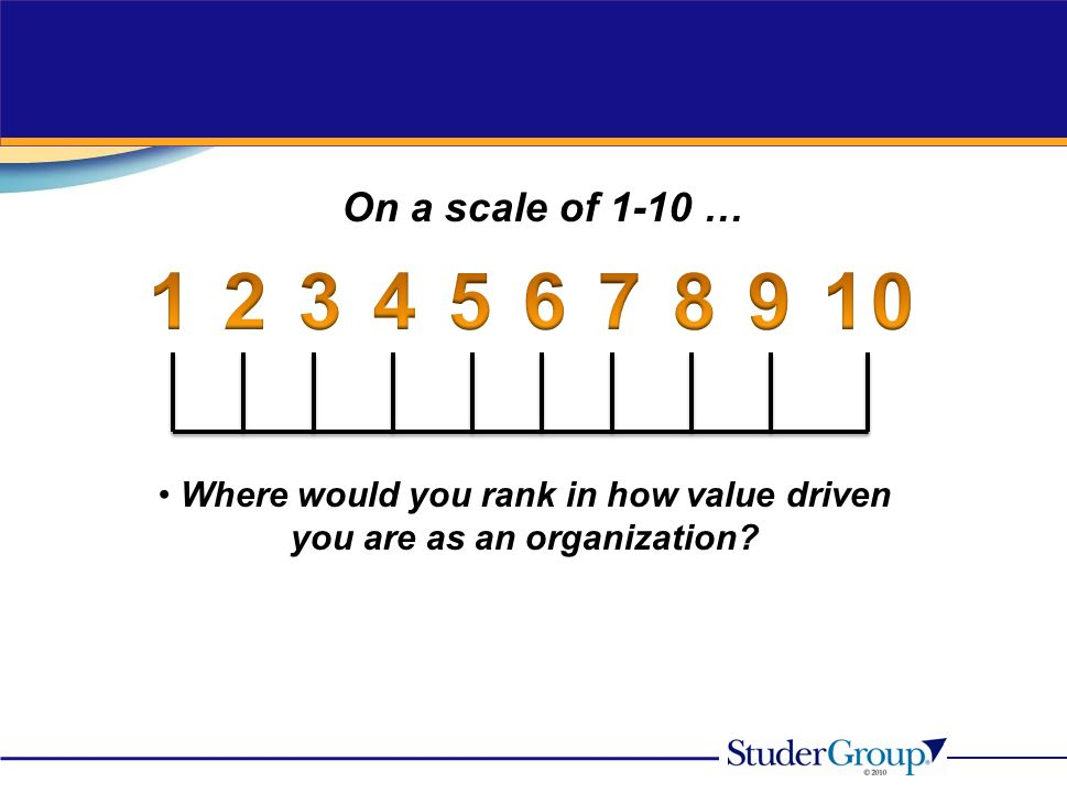 On a scale of 1-10 … Where would you rank in how value driven you are as an organization