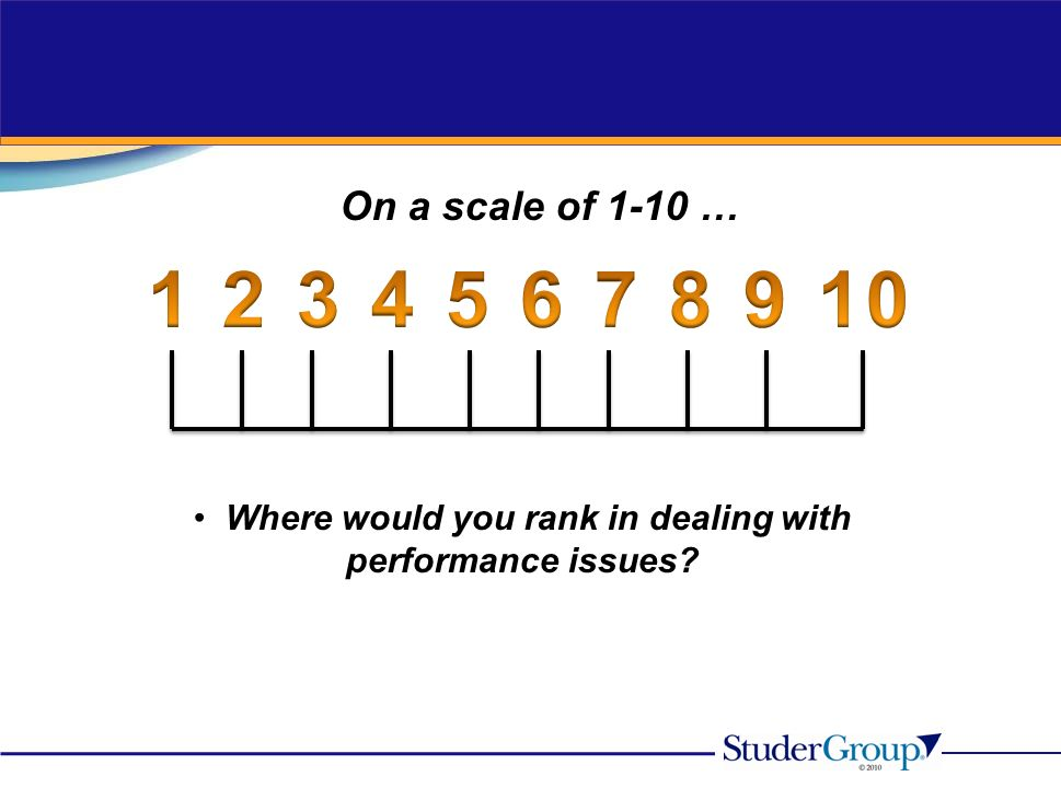 On a scale of 1-10 … Where would you rank in dealing with performance issues