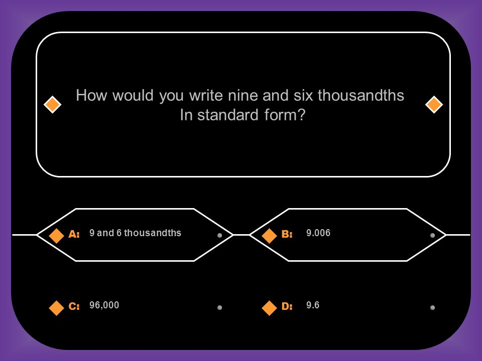 A:B: 9 and 6 thousandths9.006 How would you write nine and six thousandths In standard form.