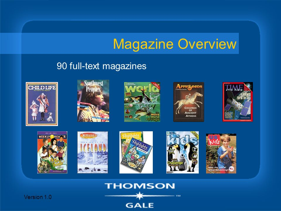 Version 1.0 2007 Planned Updates n Kids InfoBits presents Wild Weather n Kids InfoBits presents the Human Body n Kids InfoBits presents Diseases and Disorders n Kids InfoBits presents the Solar System n Focus on childrens authors –Forty new author bios will be added n Dinosaur content n Illustrations, blank maps and science experiments.