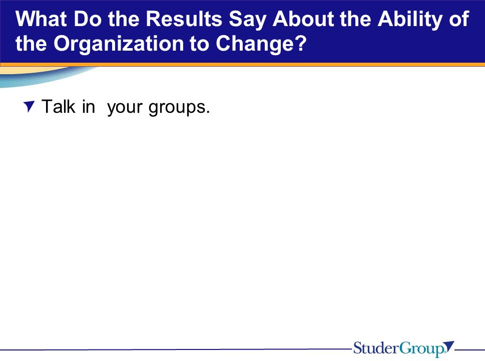 What Do the Results Say About the Ability of the Organization to Change Talk in your groups.