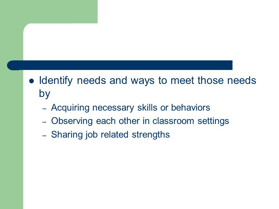 Identify needs and ways to meet those needs by – Acquiring necessary skills or behaviors – Observing each other in classroom settings – Sharing job related strengths