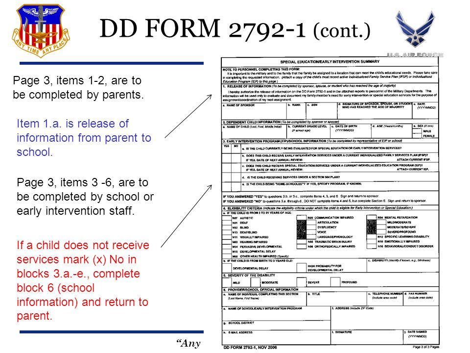 Any Time, Any Place DD FORM 2792-1 (cont.) Page 3, items 3 -6, are to be completed by school or early intervention staff. Page 3, items 1-2, are to be
