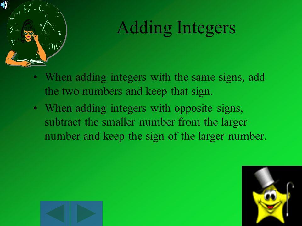 Negative Integers Integers that are less than zero.