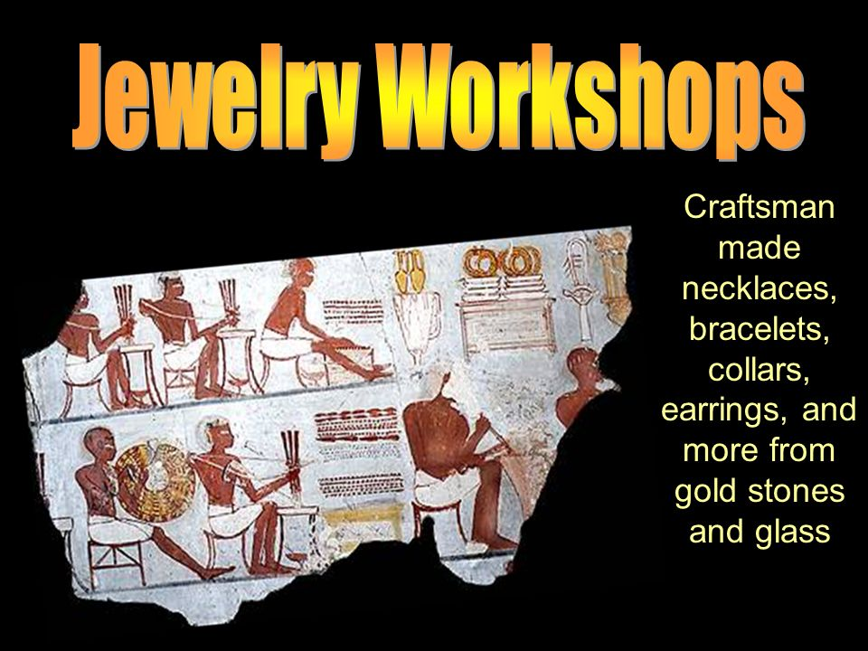 Craftsman made necklaces, bracelets, collars, earrings, and more from gold stones and glass