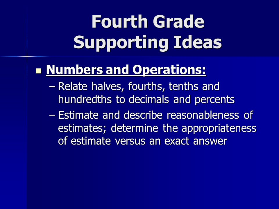 Fourth Grade Supporting Ideas Numbers and Operations: Numbers and Operations: –Relate halves, fourths, tenths and hundredths to decimals and percents –Estimate and describe reasonableness of estimates; determine the appropriateness of estimate versus an exact answer