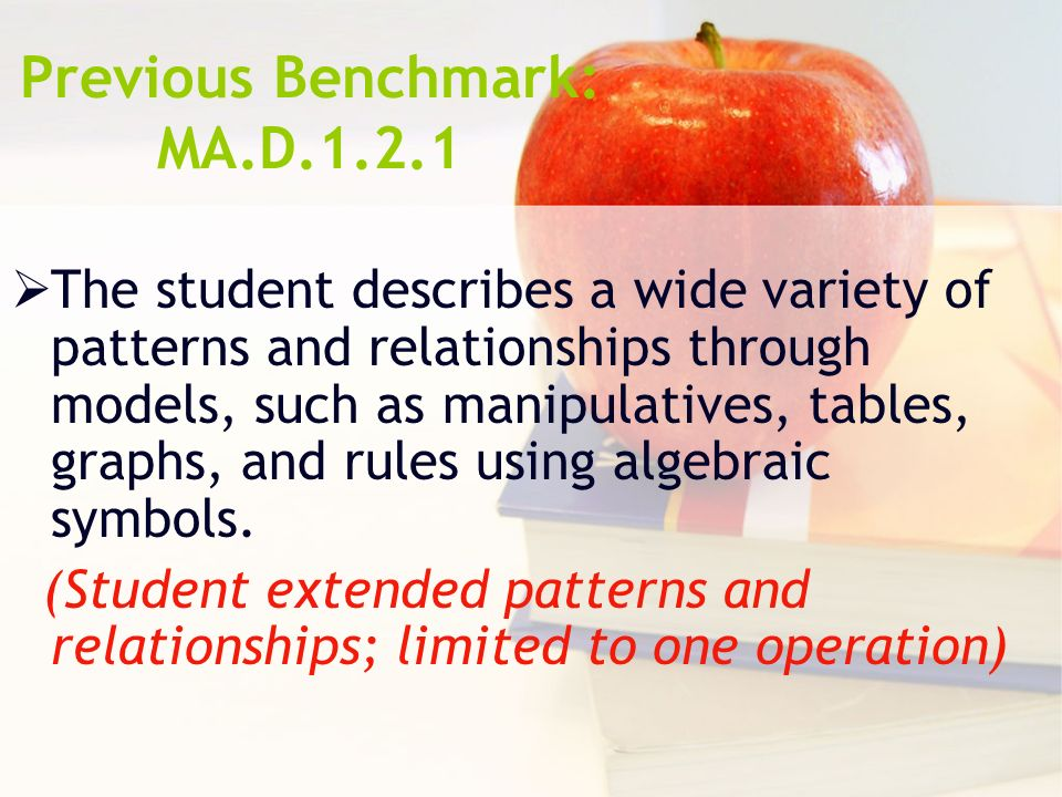 Previous Benchmark: MA.D.1.2.1 The student describes a wide variety of patterns and relationships through models, such as manipulatives, tables, graphs, and rules using algebraic symbols.