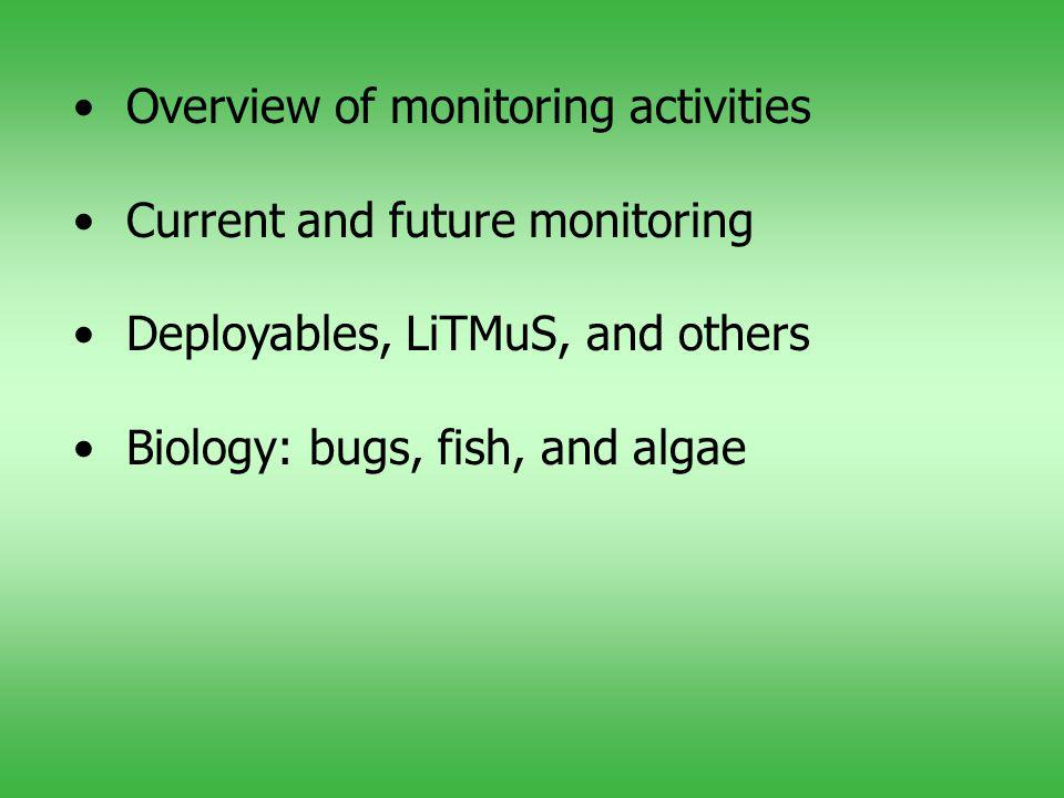 Overview of monitoring activities Current and future monitoring Deployables, LiTMuS, and others Biology: bugs, fish, and algae