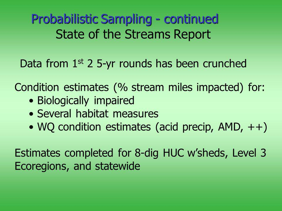 State of the Streams Report Data from 1 st 2 5-yr rounds has been crunched Condition estimates (% stream miles impacted) for: Biologically impaired Several habitat measures WQ condition estimates (acid precip, AMD, ++) Estimates completed for 8-dig HUC wsheds, Level 3 Ecoregions, and statewide Probabilistic Sampling - continued