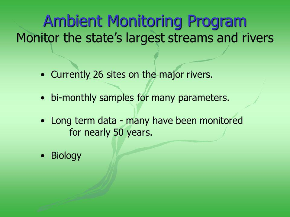 AmbientMonitoringProgram Ambient Monitoring Program Monitor the states largest streams and rivers Currently 26 sites on the major rivers.