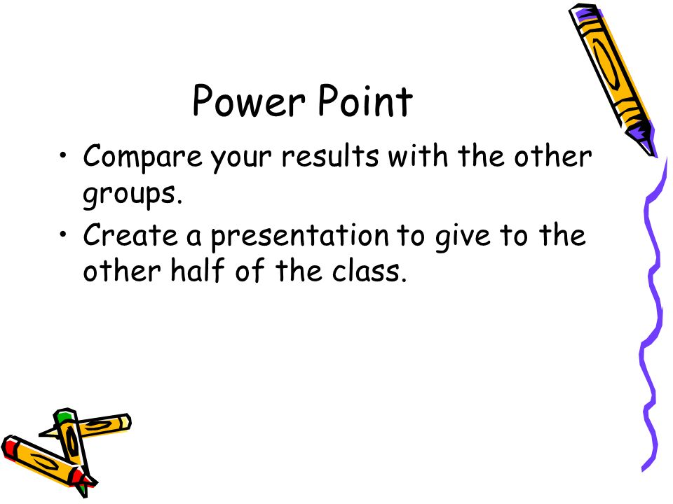 Power Point Compare your results with the other groups. Create a presentation to give to the other half of the class.