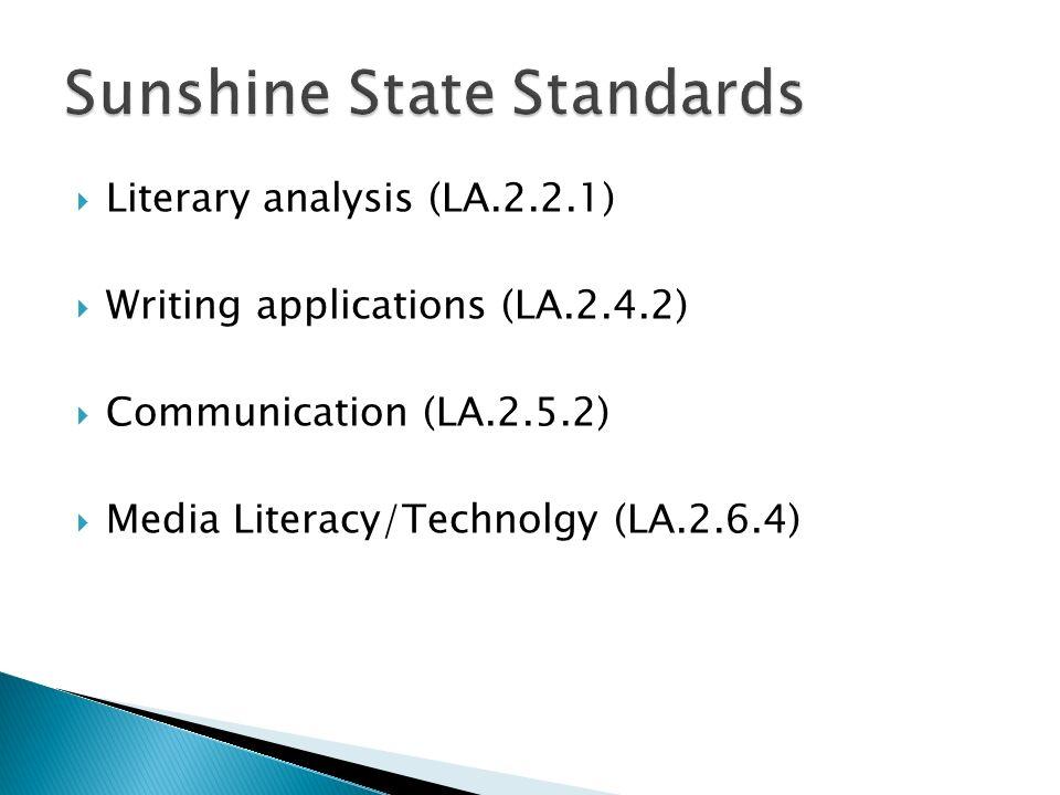 Literary analysis (LA.2.2.1) Writing applications (LA.2.4.2) Communication (LA.2.5.2) Media Literacy/Technolgy (LA.2.6.4)