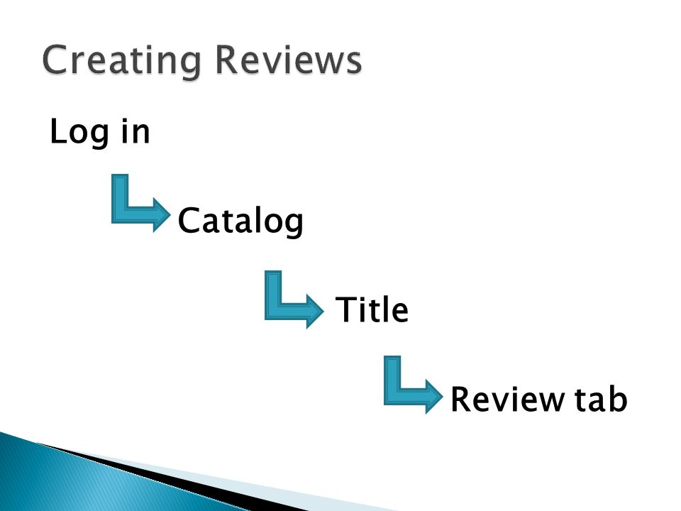 Log in Catalog Title Review tab