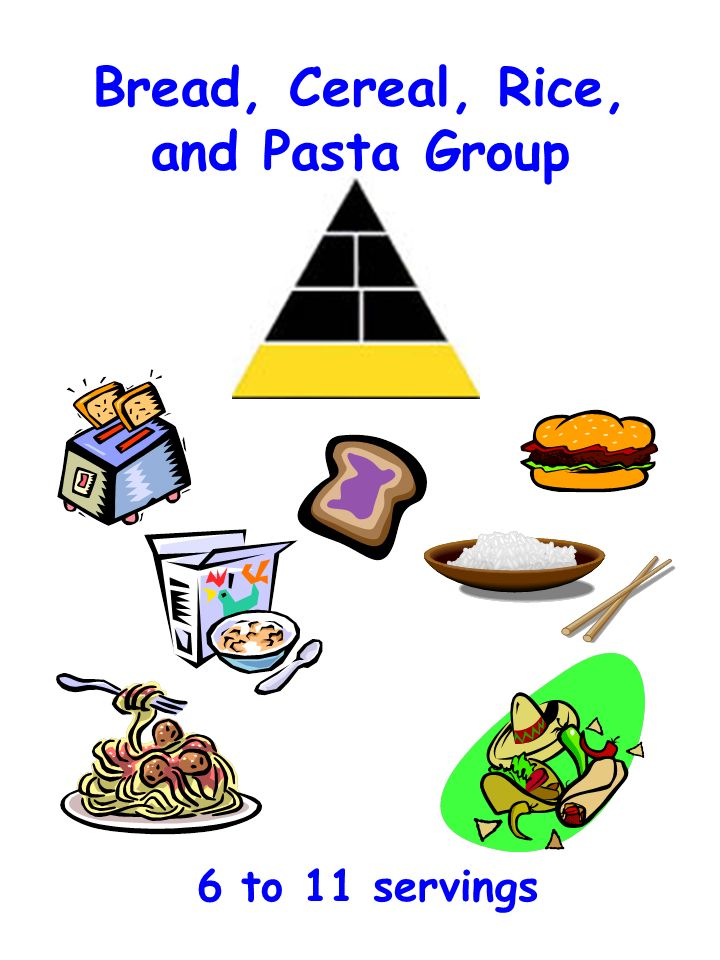 Bread, Cereal, Rice, and Pasta Group 6 to 11 servings