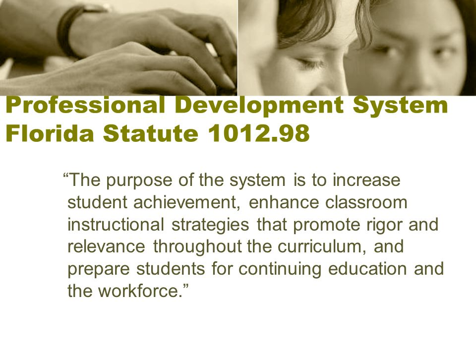 Professional Development System Florida Statute 1012.98 The purpose of the system is to increase student achievement, enhance classroom instructional