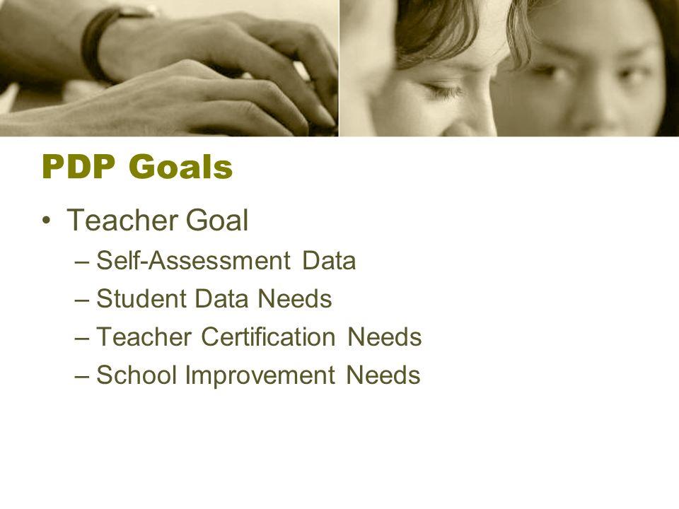 PDP Goals Teacher Goal –Self-Assessment Data –Student Data Needs –Teacher Certification Needs –School Improvement Needs