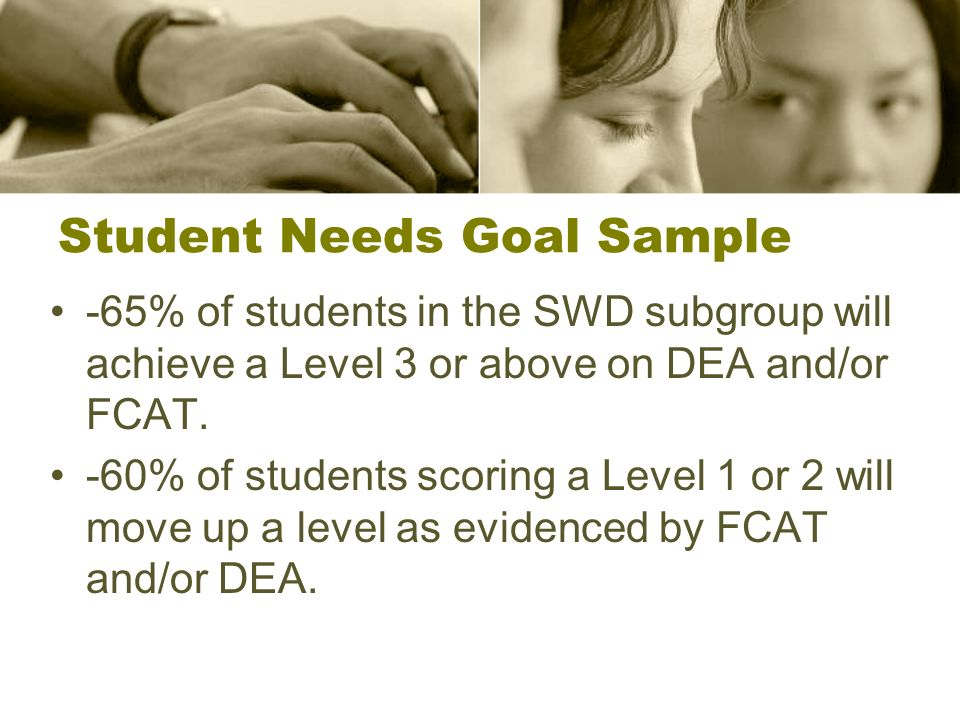 Student Needs Goal Sample -65% of students in the SWD subgroup will achieve a Level 3 or above on DEA and/or FCAT.
