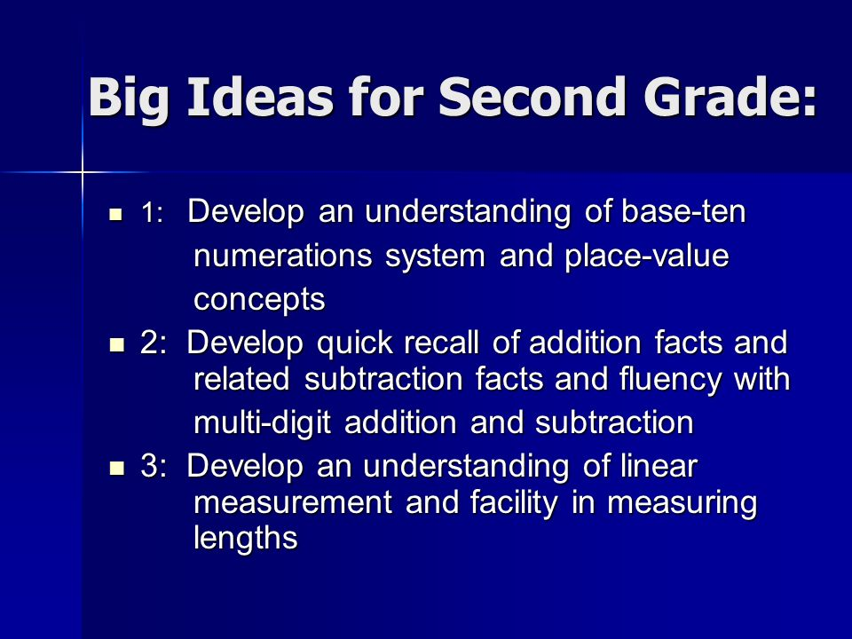 Big Ideas for Second Grade: 1: Develop an understanding of base-ten 1: Develop an understanding of base-ten numerations system and place-value concept