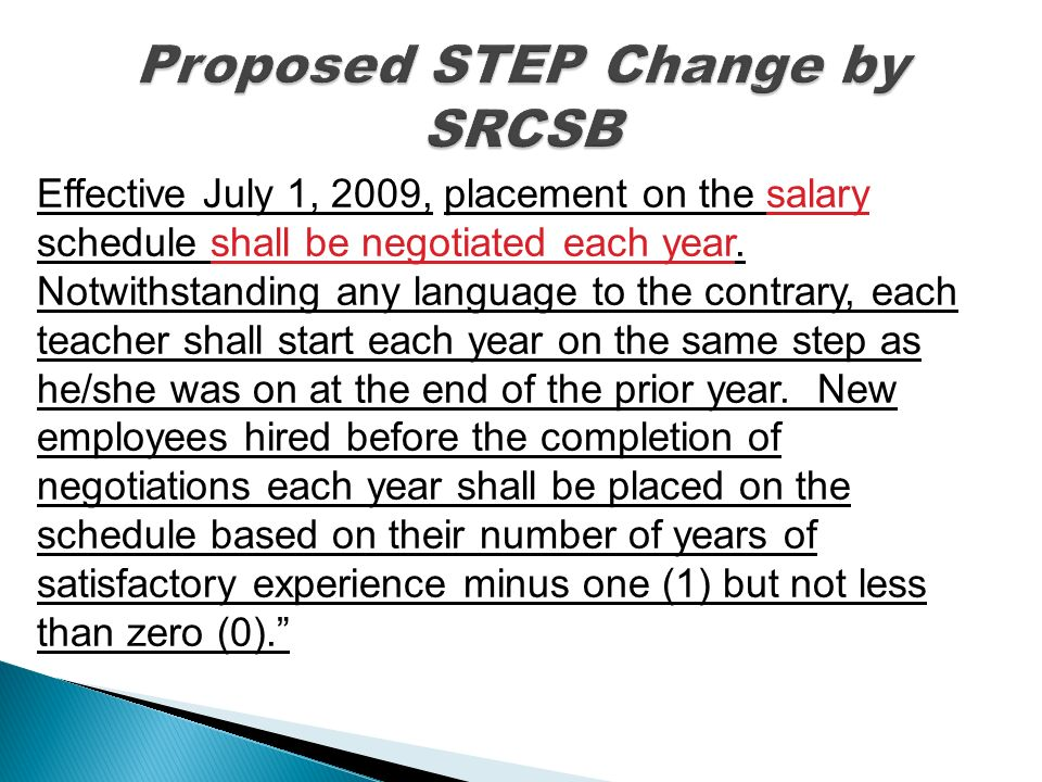 Effective July 1, 2009, placement on the salary schedule shall be negotiated each year.