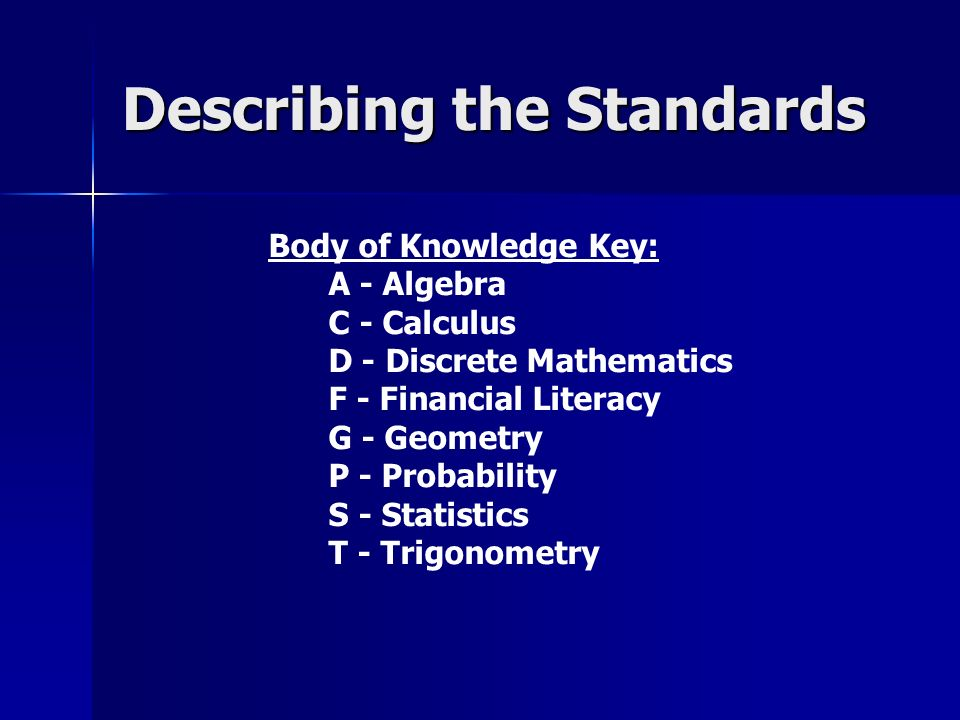 Describing the Standards Body of Knowledge Key: A - Algebra C - Calculus D - Discrete Mathematics F - Financial Literacy G - Geometry P - Probability S - Statistics T - Trigonometry