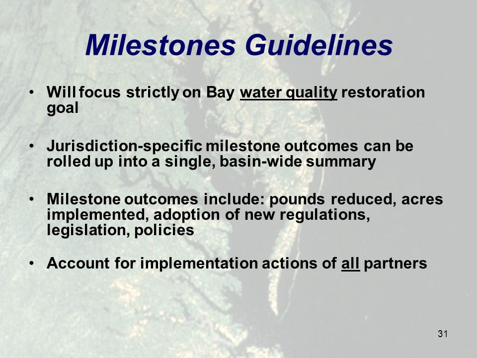 31 Milestones Guidelines Will focus strictly on Bay water quality restoration goal Jurisdiction-specific milestone outcomes can be rolled up into a single, basin-wide summary Milestone outcomes include: pounds reduced, acres implemented, adoption of new regulations, legislation, policies Account for implementation actions of all partners