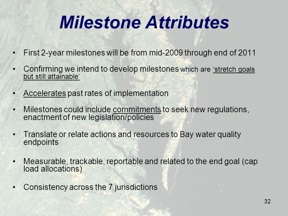 32 Milestone Attributes First 2-year milestones will be from mid-2009 through end of 2011 Confirming we intend to develop milestones which are stretch goals but still attainable Accelerates past rates of implementation Milestones could include commitments to seek new regulations, enactment of new legislation/policies Translate or relate actions and resources to Bay water quality endpoints Measurable, trackable, reportable and related to the end goal (cap load allocations) Consistency across the 7 jurisdictions