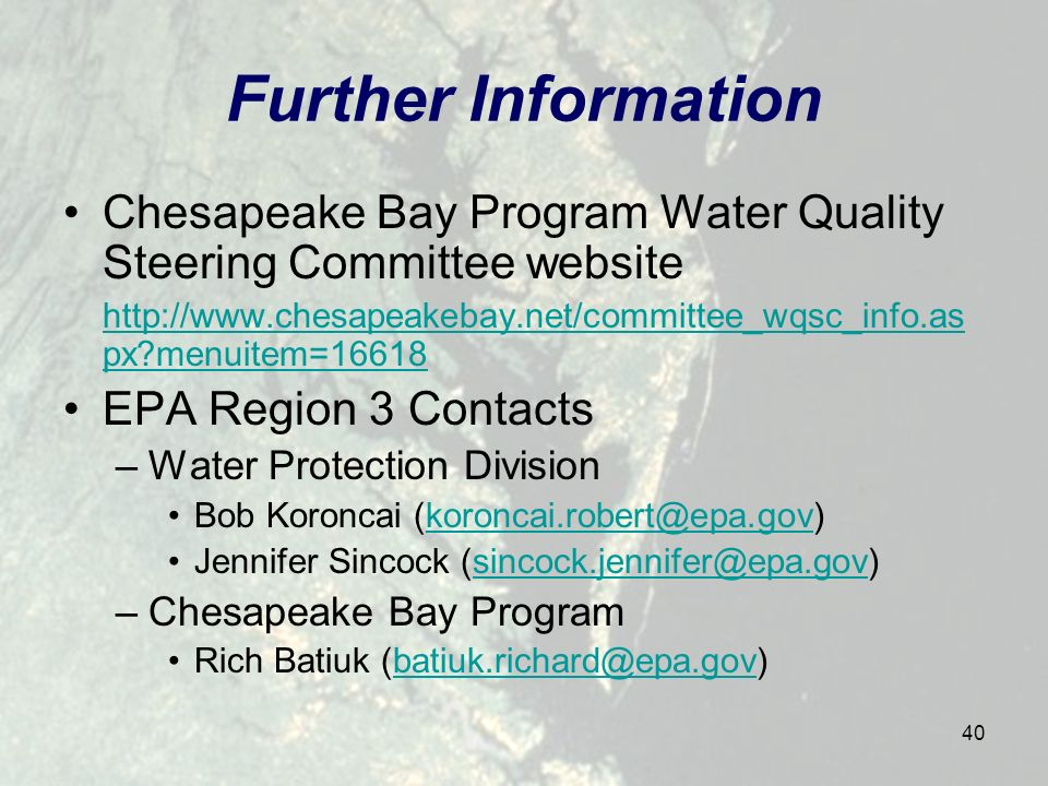 40 Further Information Chesapeake Bay Program Water Quality Steering Committee website http://www.chesapeakebay.net/committee_wqsc_info.as px menuitem=16618 EPA Region 3 Contacts –Water Protection Division Bob Koroncai (koroncai.robert@epa.gov)koroncai.robert@epa.gov Jennifer Sincock (sincock.jennifer@epa.gov)sincock.jennifer@epa.gov –Chesapeake Bay Program Rich Batiuk (batiuk.richard@epa.gov)batiuk.richard@epa.gov