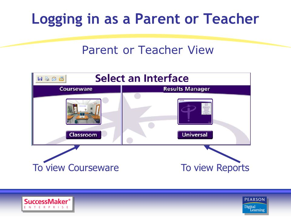Logging in as a Parent or Teacher Parent or Teacher View To view CoursewareTo view Reports