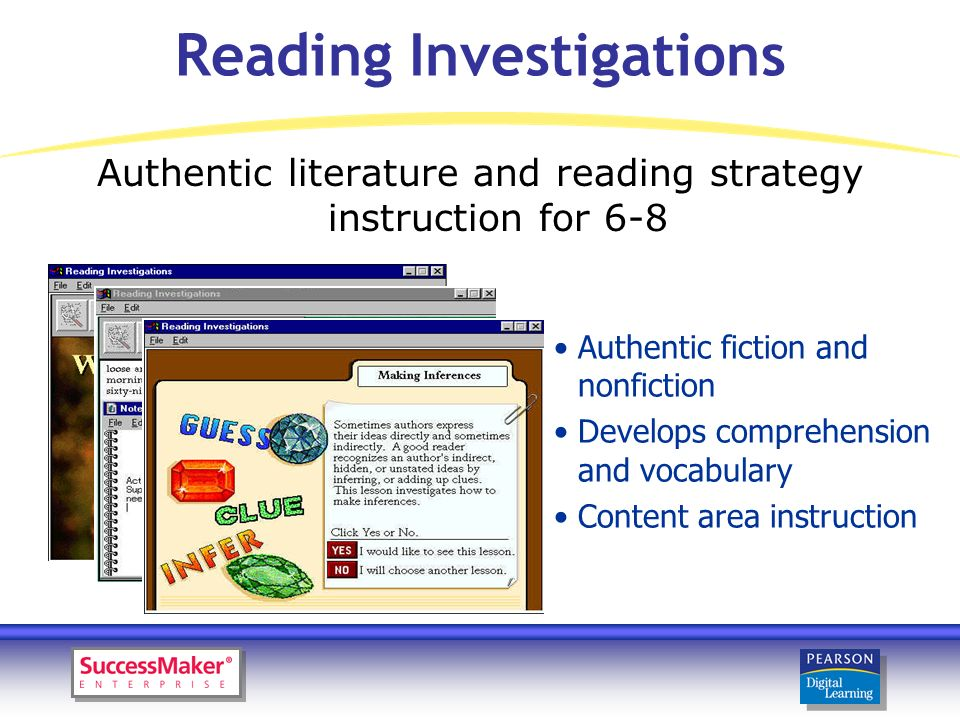 Reading Investigations Authentic fiction and nonfiction Develops comprehension and vocabulary Content area instruction Authentic literature and reading strategy instruction for 6-8