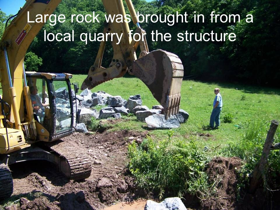 Large rock was brought in from a local quarry for the structure