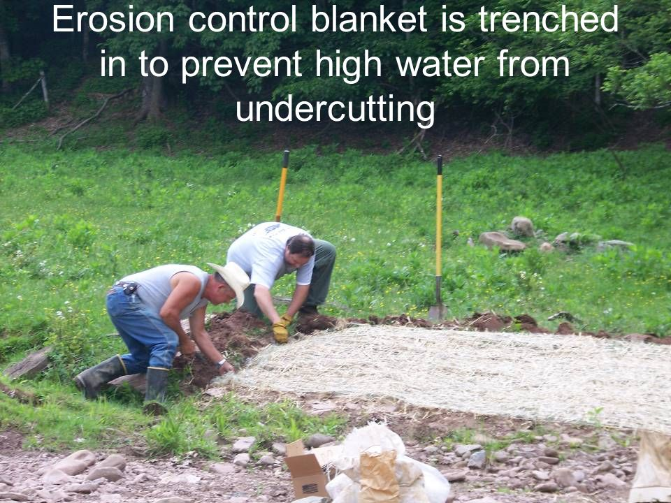 Erosion control blanket is trenched in to prevent high water from undercutting