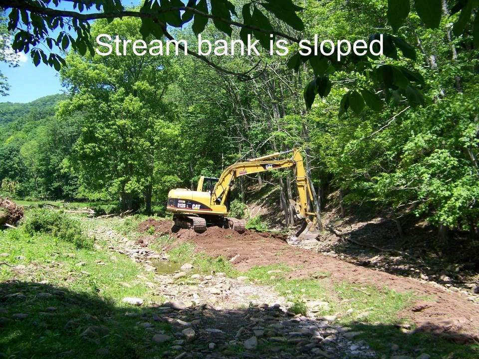 Stream bank is sloped