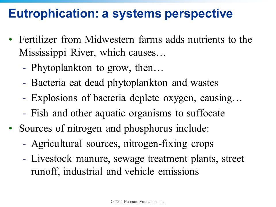 © 2011 Pearson Education, Inc. Eutrophication: a systems perspective Fertilizer from Midwestern farms adds nutrients to the Mississippi River, which c