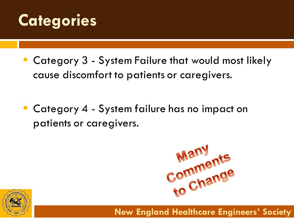 New England Healthcare Engineers Society Categories Category 3 - System Failure that would most likely cause discomfort to patients or caregivers. Cat