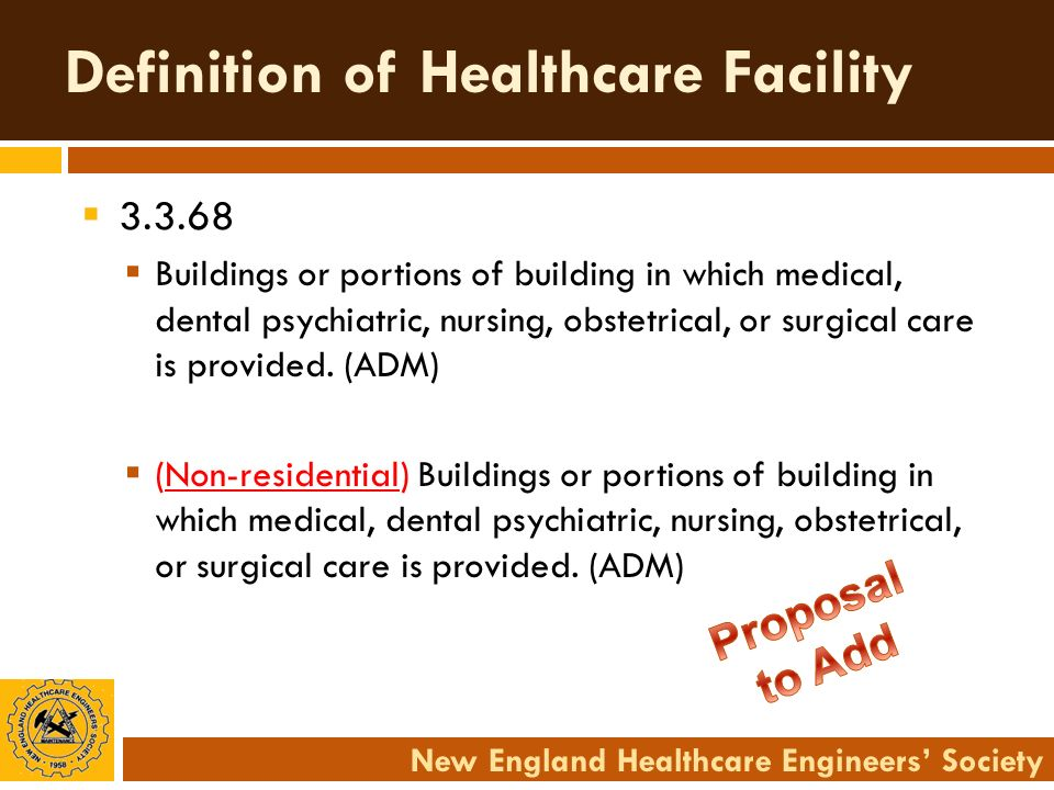 New England Healthcare Engineers Society Definition of Healthcare Facility 3.3.68 Buildings or portions of building in which medical, dental psychiatr