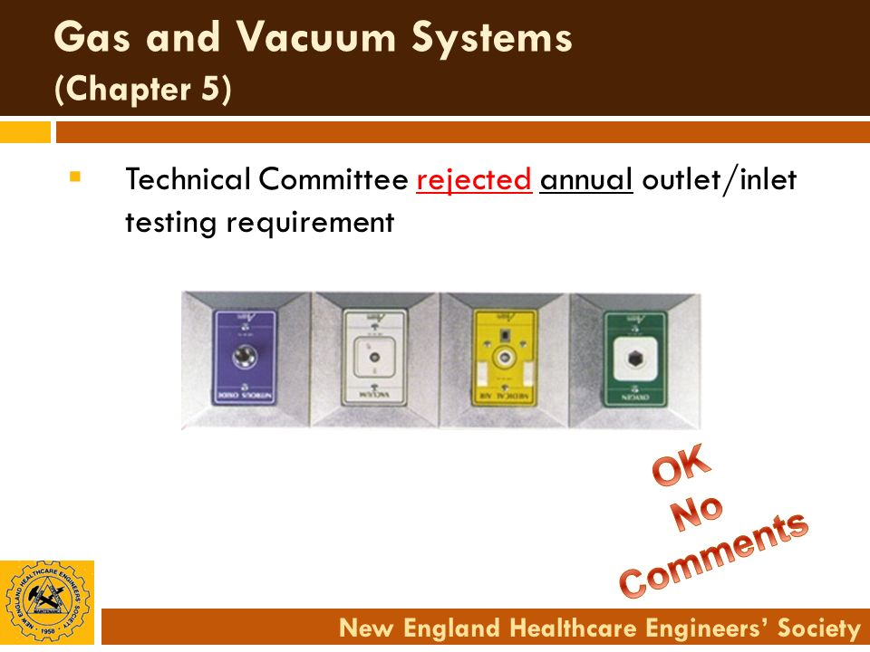 New England Healthcare Engineers Society Gas and Vacuum Systems (Chapter 5) Technical Committee rejected annual outlet/inlet testing requirement