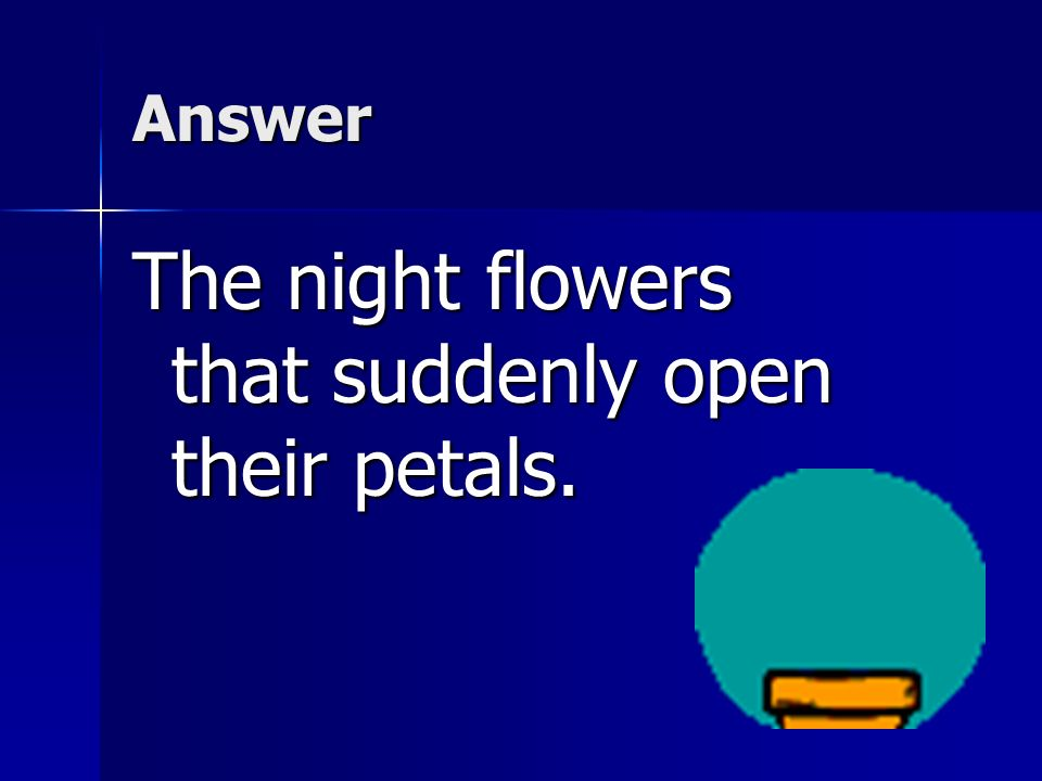Comprehension -Which detail best supports the idea that night comes quickly in Brazil? a.A person dancing along the shore. b.The night flowers that su