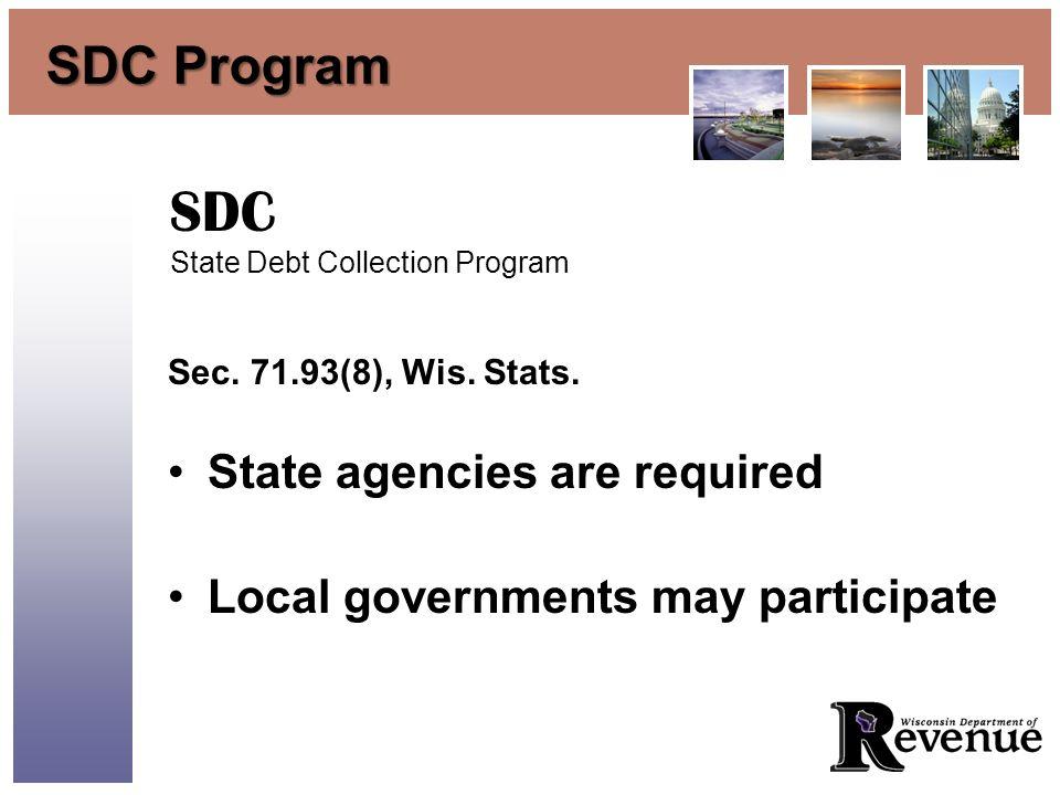 SDC Program Sec. 71.93(8), Wis. Stats.