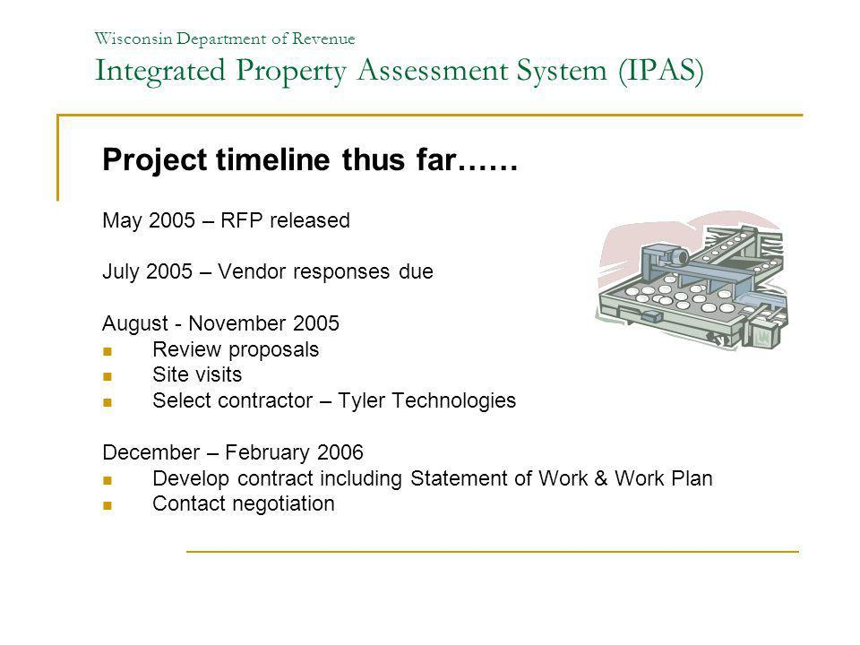 Wisconsin Department of Revenue Integrated Property Assessment System (IPAS) Project timeline thus far…… May 2005 – RFP released July 2005 – Vendor re