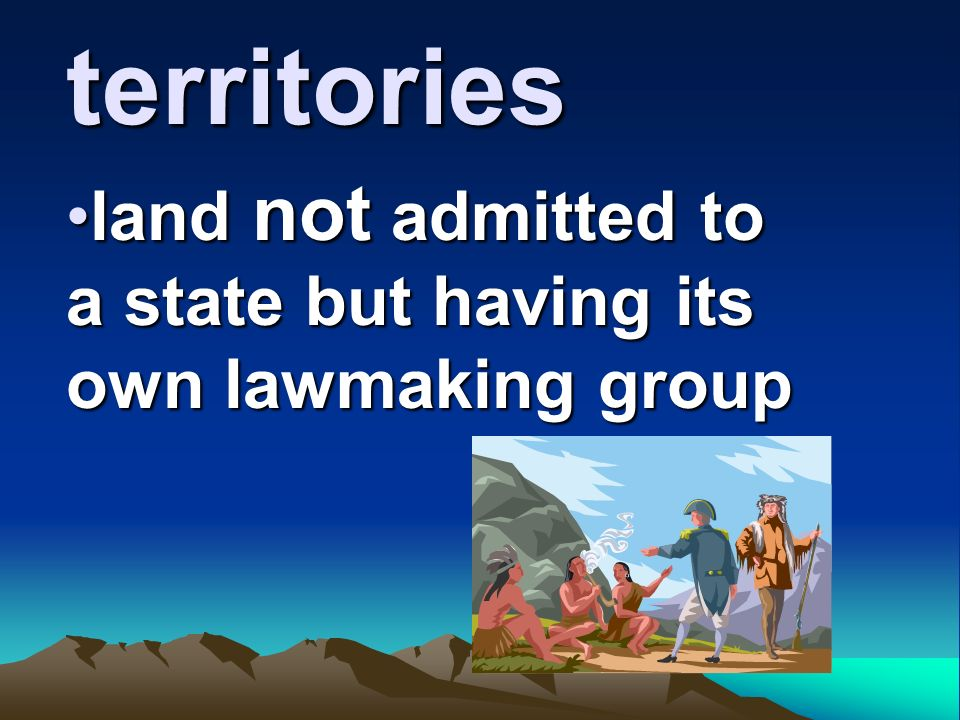 territories land not admitted to a state but having its own lawmaking groupland not admitted to a state but having its own lawmaking group