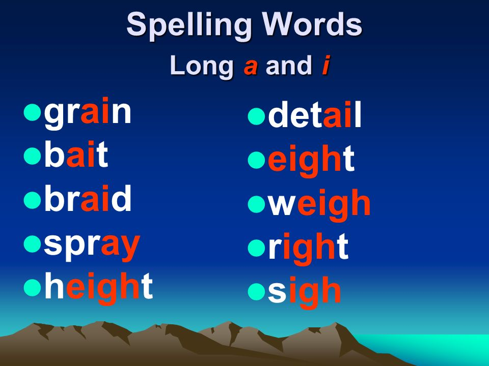 Spelling Words Long a and i grain bait braid spray height detail eight weigh right sigh