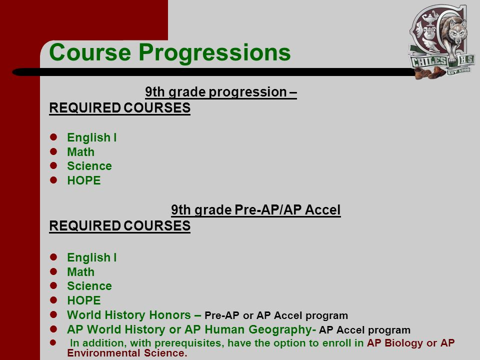 Course Progressions 9th grade progression – REQUIRED COURSES English I Math Science HOPE 9th grade Pre-AP/AP Accel REQUIRED COURSES English I Math Sci