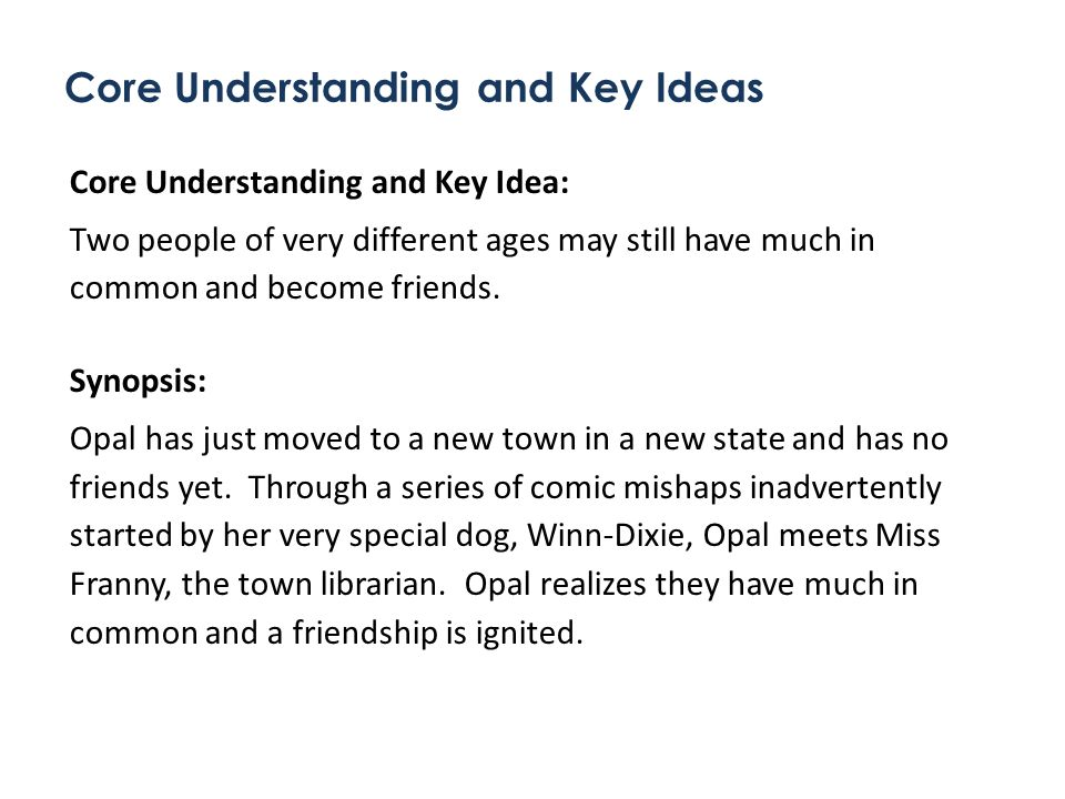 Core Understanding and Key Ideas Core Understanding and Key Idea: Two people of very different ages may still have much in common and become friends.