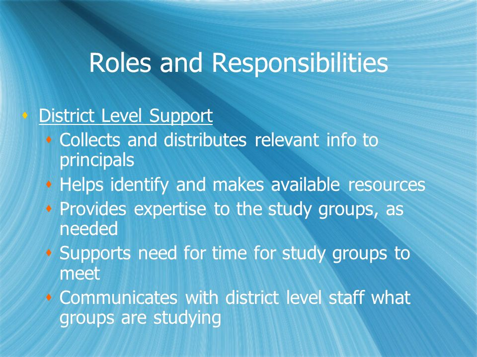 Roles and Responsibilities District Level Support Collects and distributes relevant info to principals Helps identify and makes available resources Pr