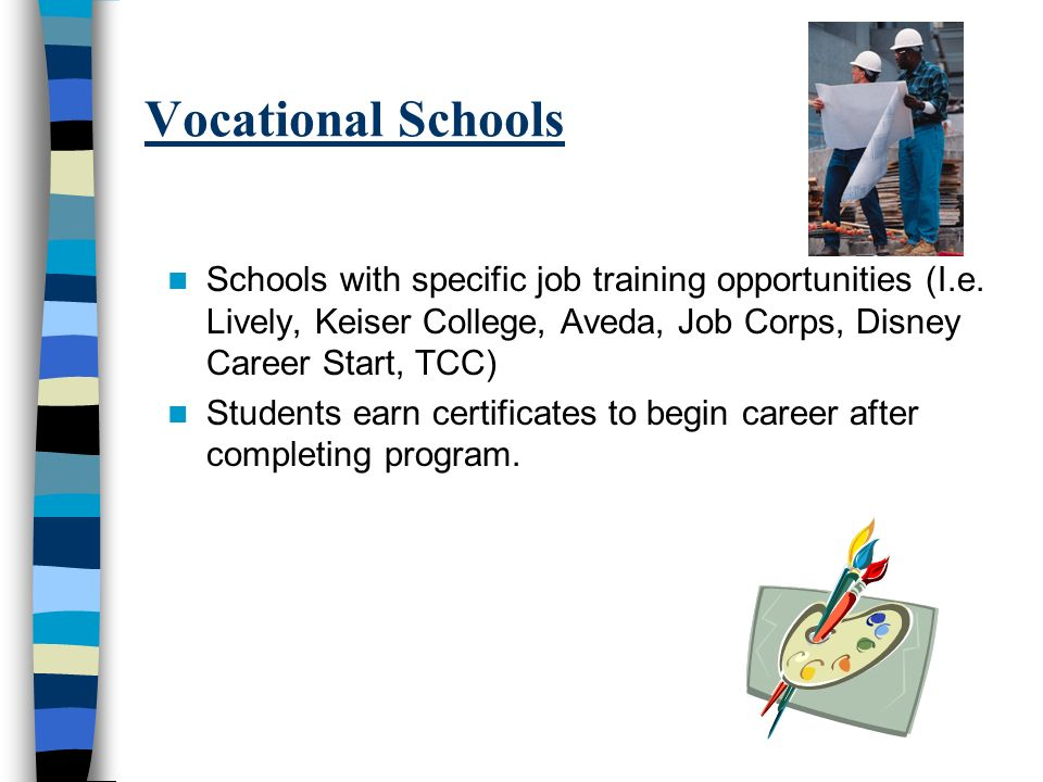 Vocational Schools Schools with specific job training opportunities (I.e. Lively, Keiser College, Aveda, Job Corps, Disney Career Start, TCC) Students